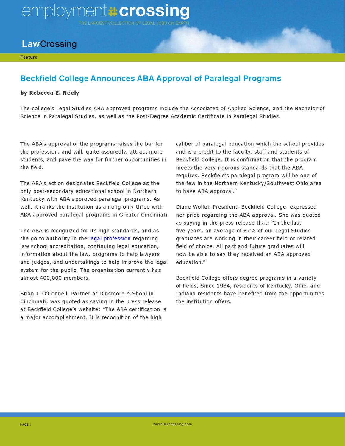 Beckfield College Announces Aba Approval Of Paralegal Programs By