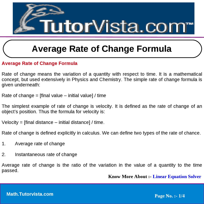 average rate of change formula by jivan kumar - issuu