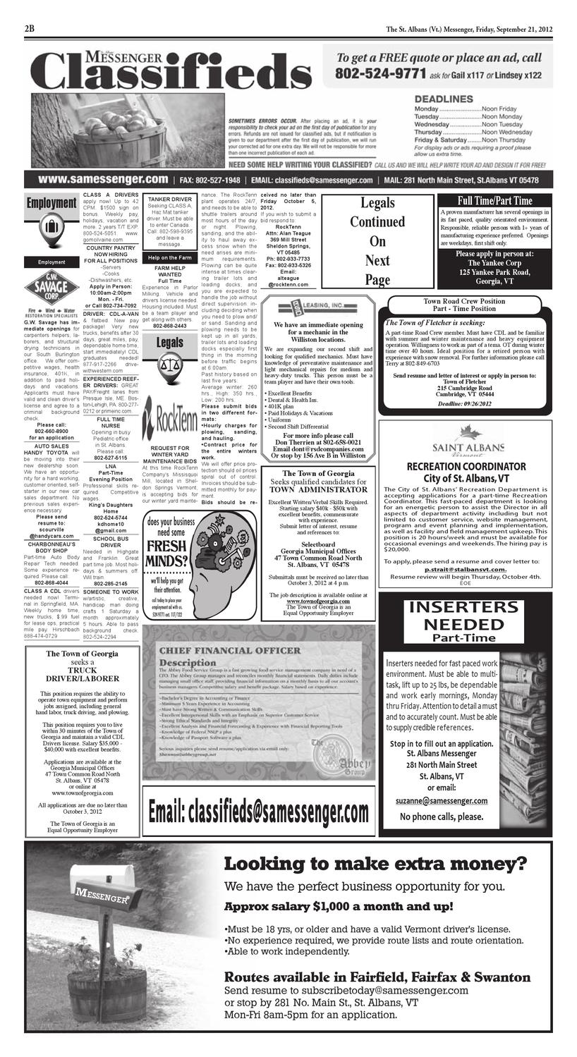 09/21/12 Classifieds by St  Albans Messenger - issuu