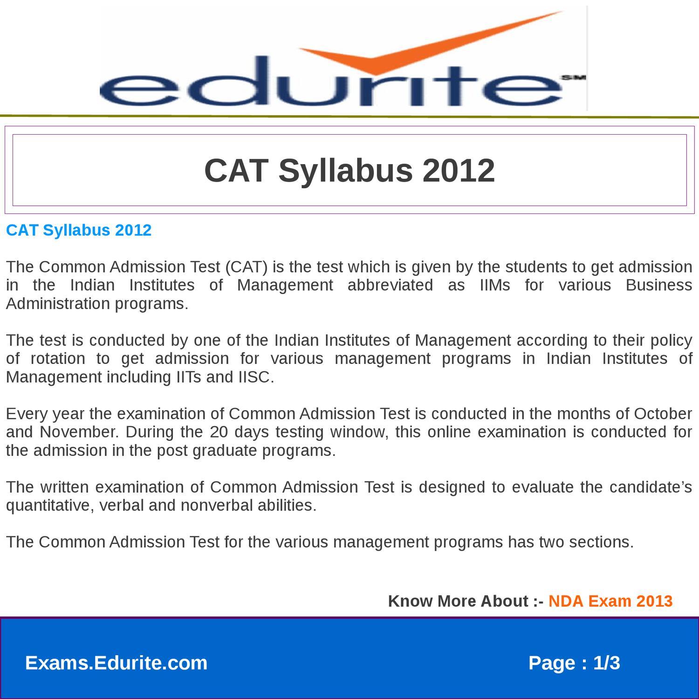 CAT 2013 SYLLABUS DOWNLOAD
