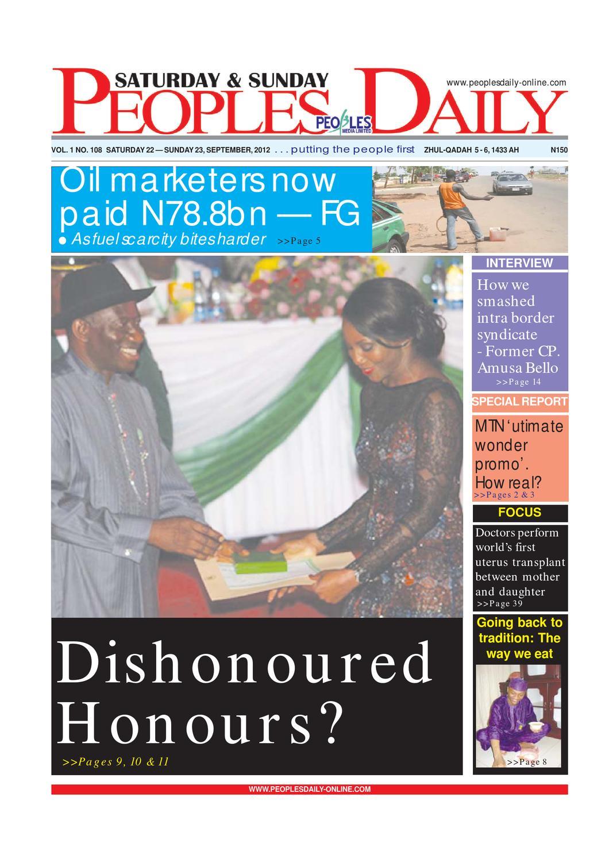 Peoples Daily Newspaper, Saturday 22, September, 2012 by Peoples