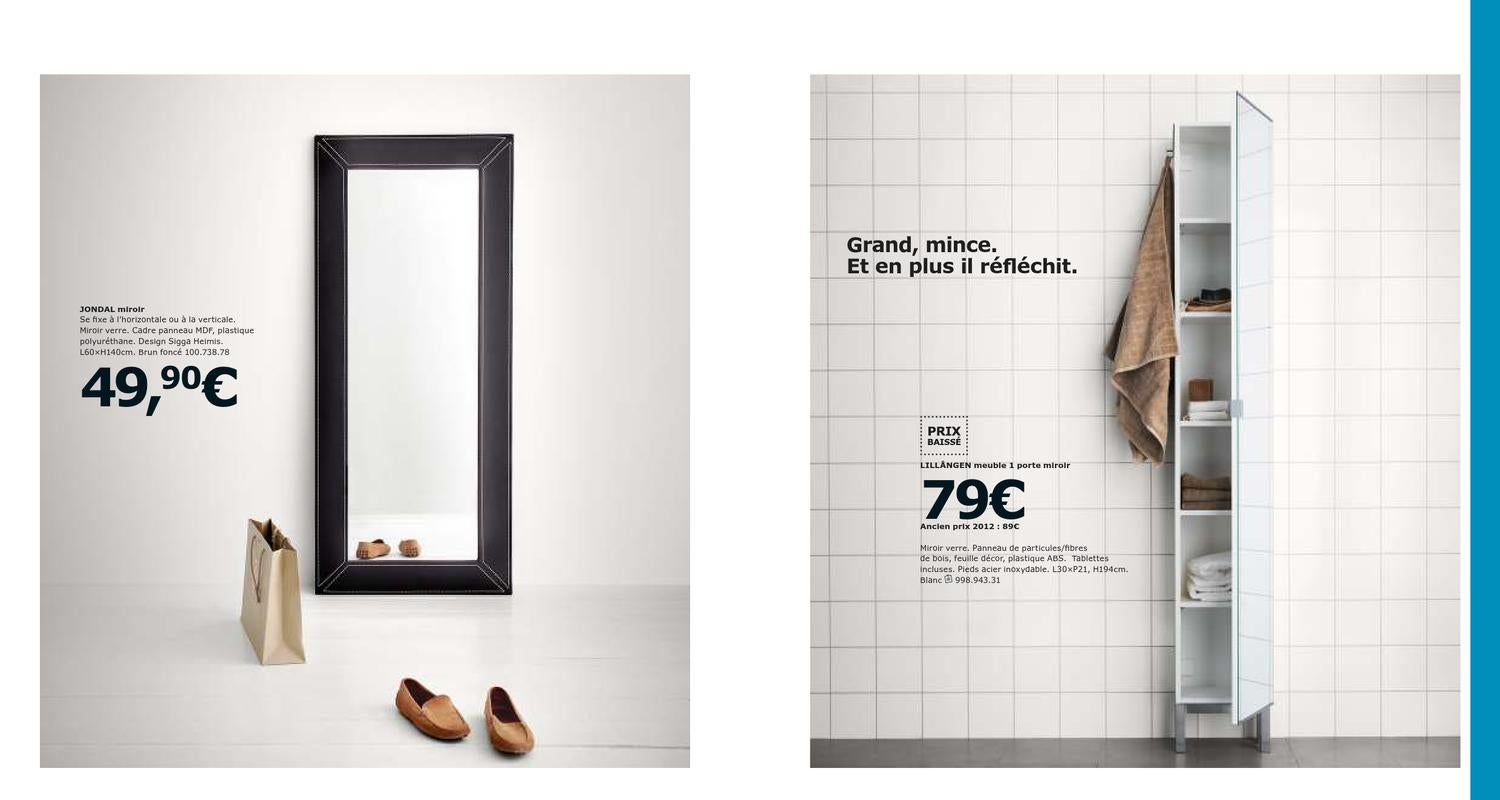 Ikea catalogue france 2013 by issuu for Miroir jondal ikea