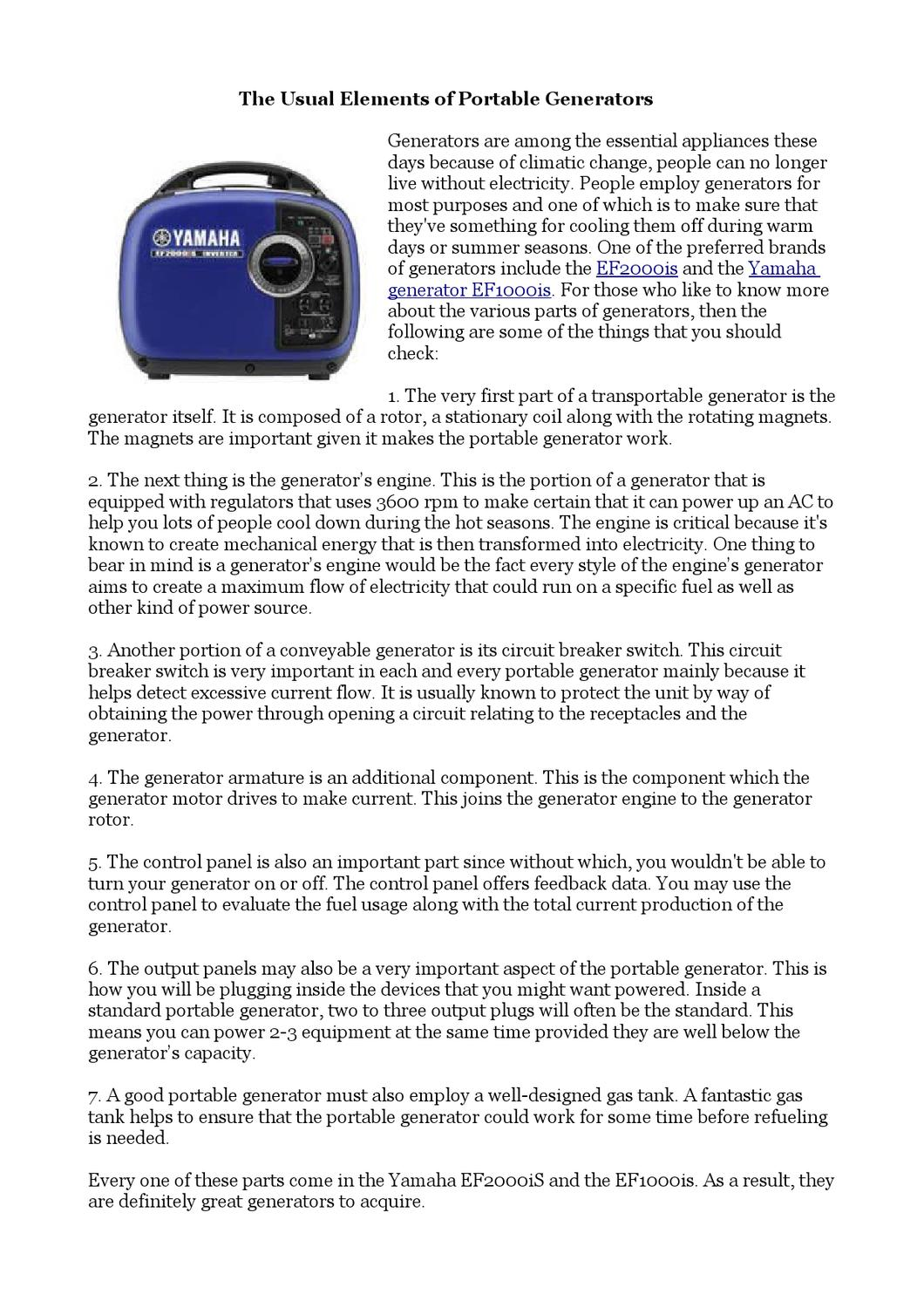 The Usual Elements of Portable Generators by Mariah Evans
