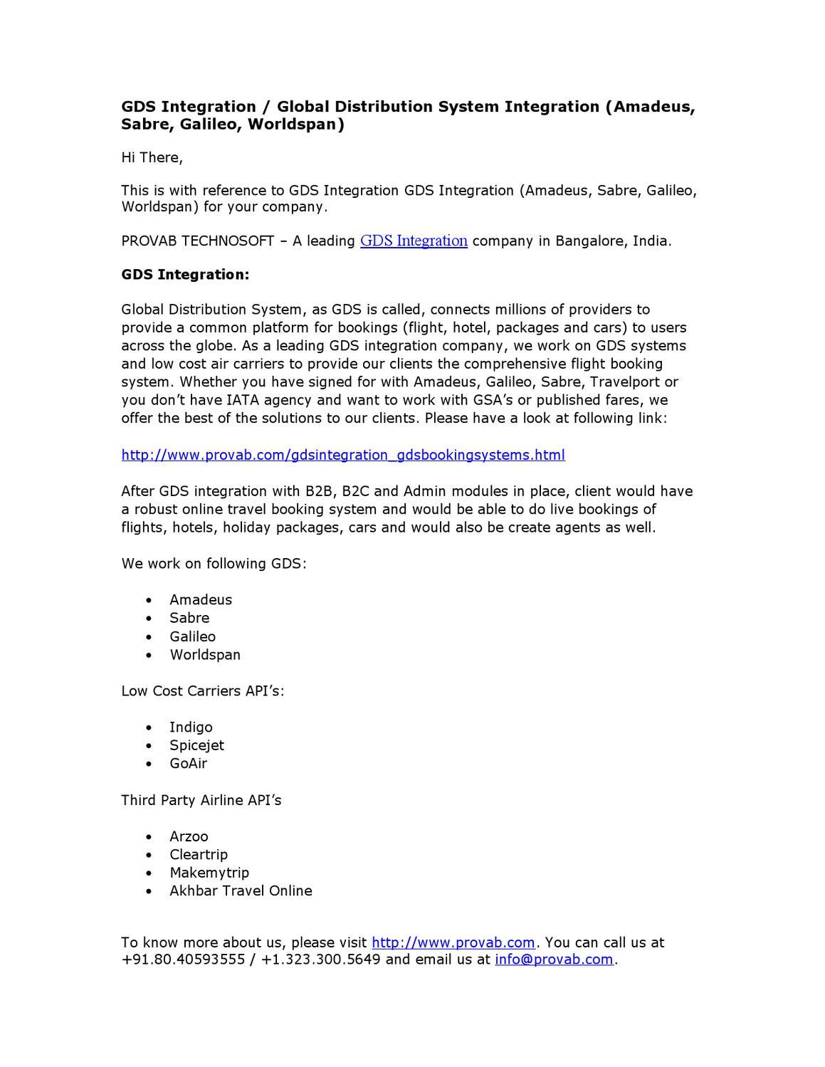 GDS Integration / Global Distribution System Integration (Amadeus