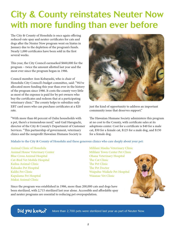 Hawaiian Humane Society Oct -Dec  Newsletter by Hawaiian