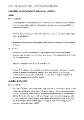 Calendario Appelli Unive.Udu Venezia Programma Elettorale By Ilaria Gervasoni Issuu