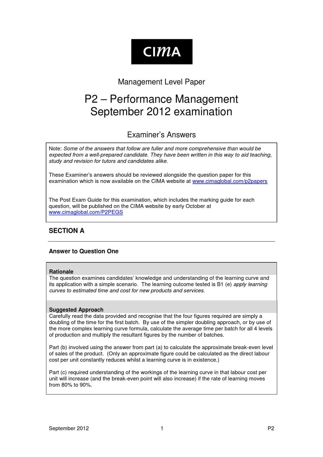 P2 September 2012 answers by Chartered Institute of