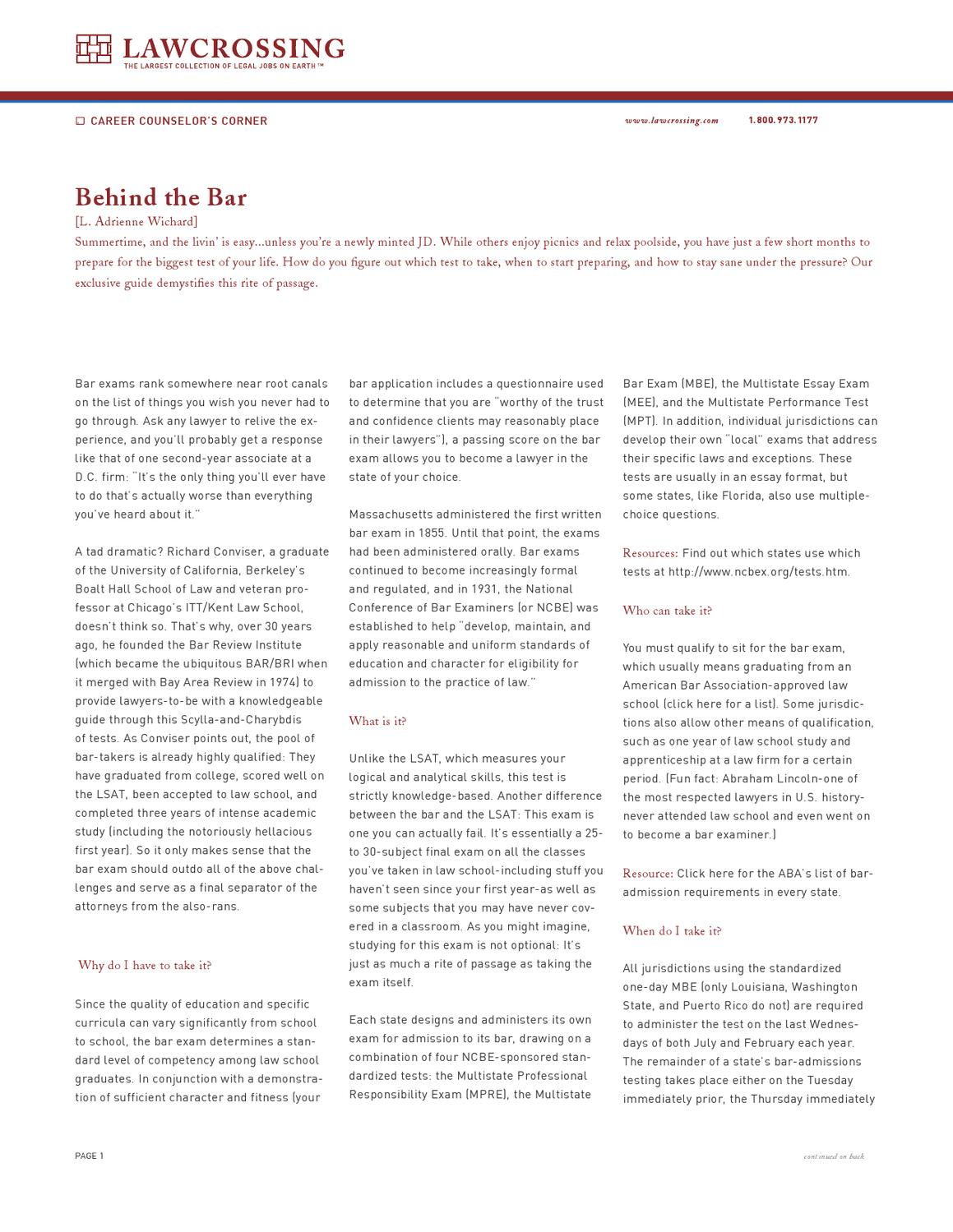 Behind the Bar by LawCrossing - issuu