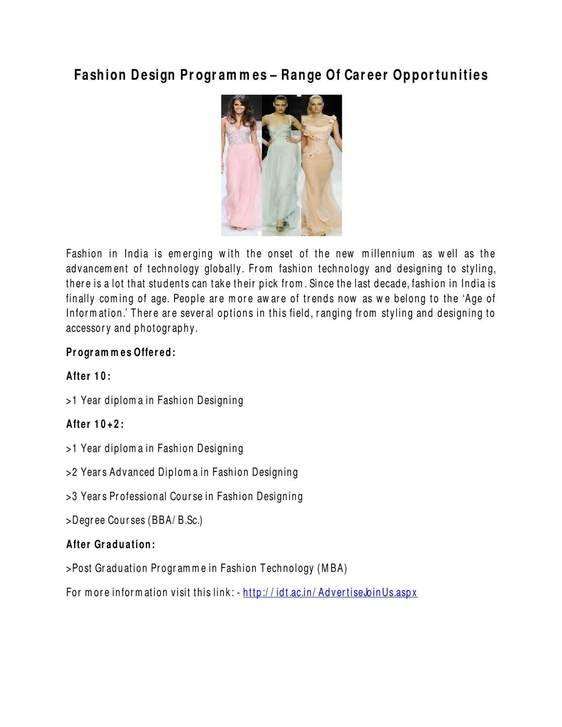 Fashion Design Programmes Range Of Career Opportunities By Fashion Ova Issuu