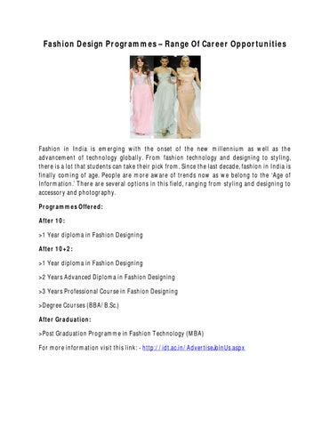 Fashion Design Programmes Range Of Career Opportunities By Fashion Ova Issuu