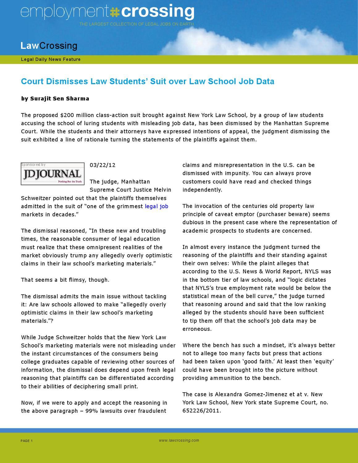 Court Dismisses Law Students' Suit over Law School Job Data