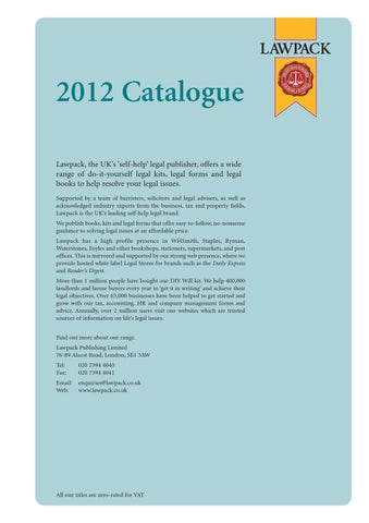 Lawpack catalogue by richard pierce issuu 2012 catalogue lawpack the uks self help legal publisher offers a wide range of do it yourself legal kits legal forms and legal books to help resolve solutioingenieria Gallery
