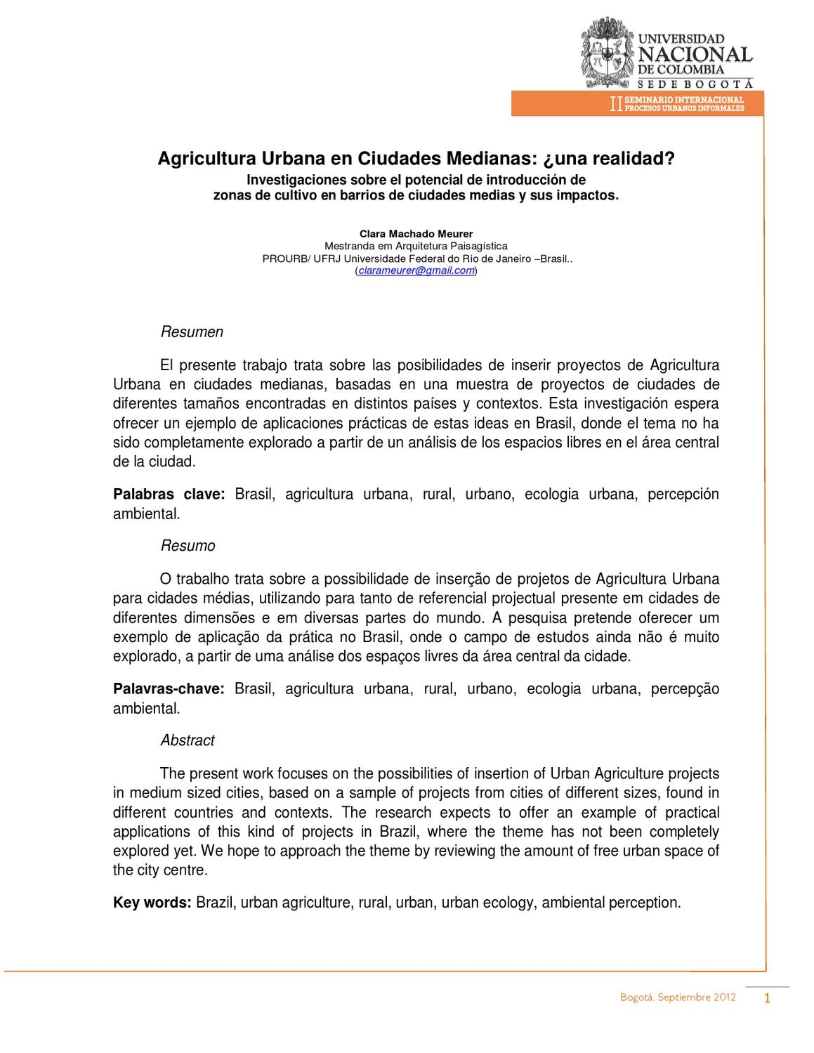 Agricultura Urbana en Ciudades Medianas: ¿una realidad? by Grupo de ...