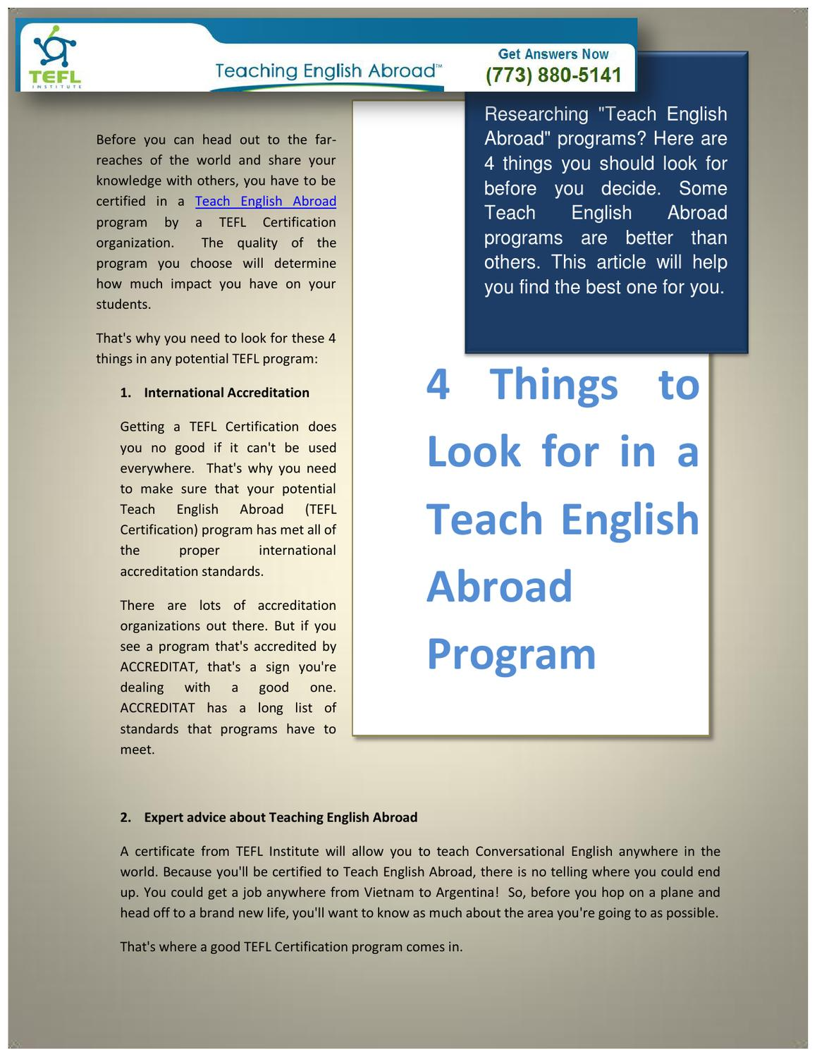 4 Things To Look For In A Teach English Abroad Program By Ti Ron