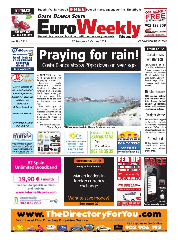 Costa Blanca South 27 September 3 October 2012 Issue 1421