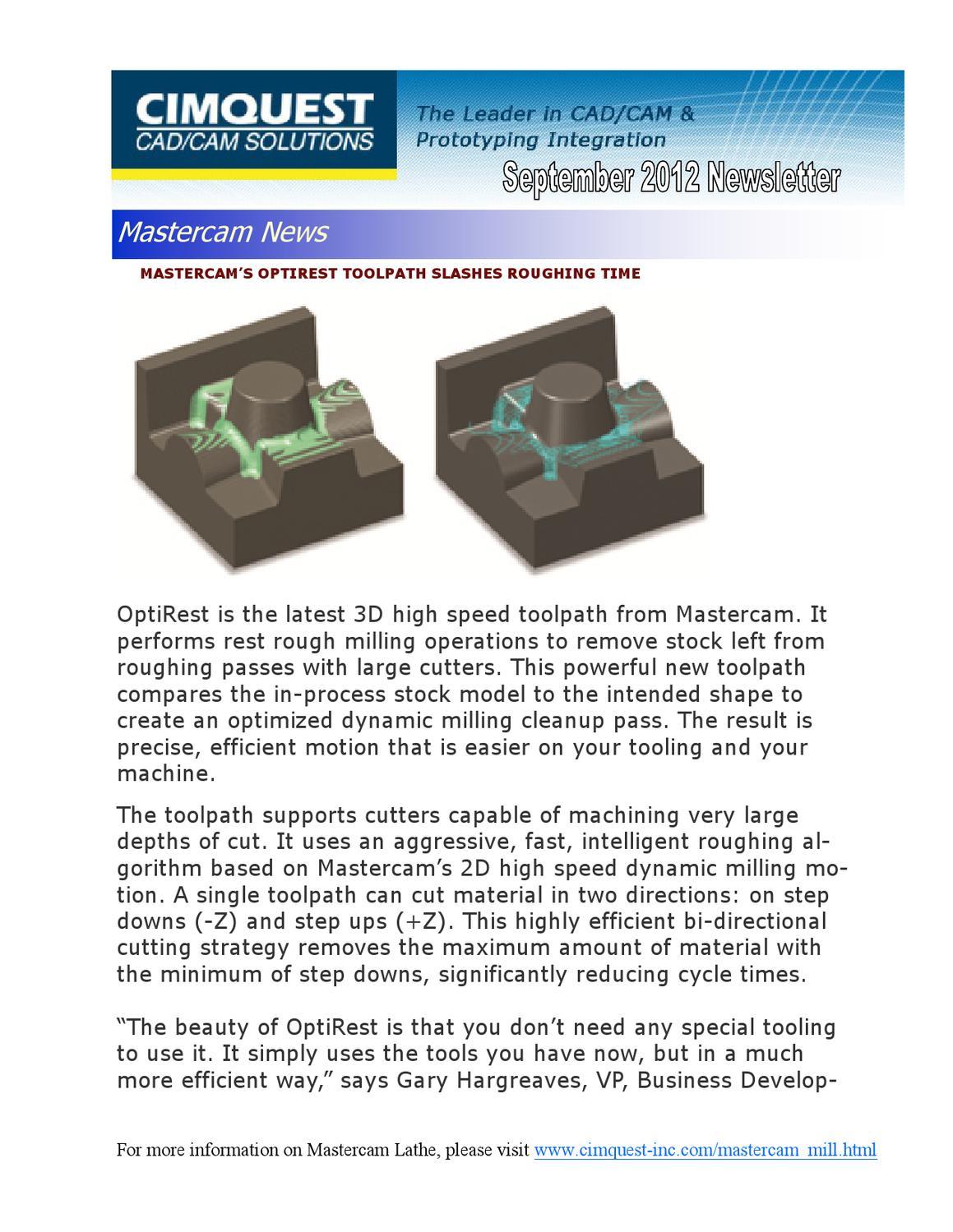 September 2012 Cimquest Mastercam Newsletter by Cimquest - issuu