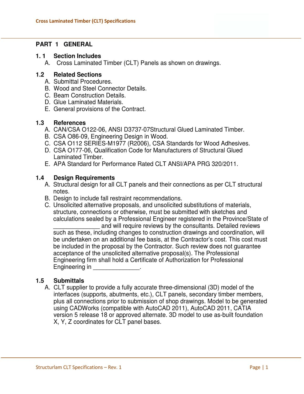 Clt Specifications By Stephen Tolnai Issuu