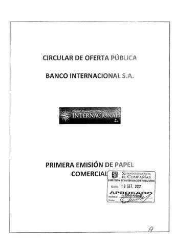 Prospecto Papel Comercial BCO INTER by Bolsa de Valores de Quito ...