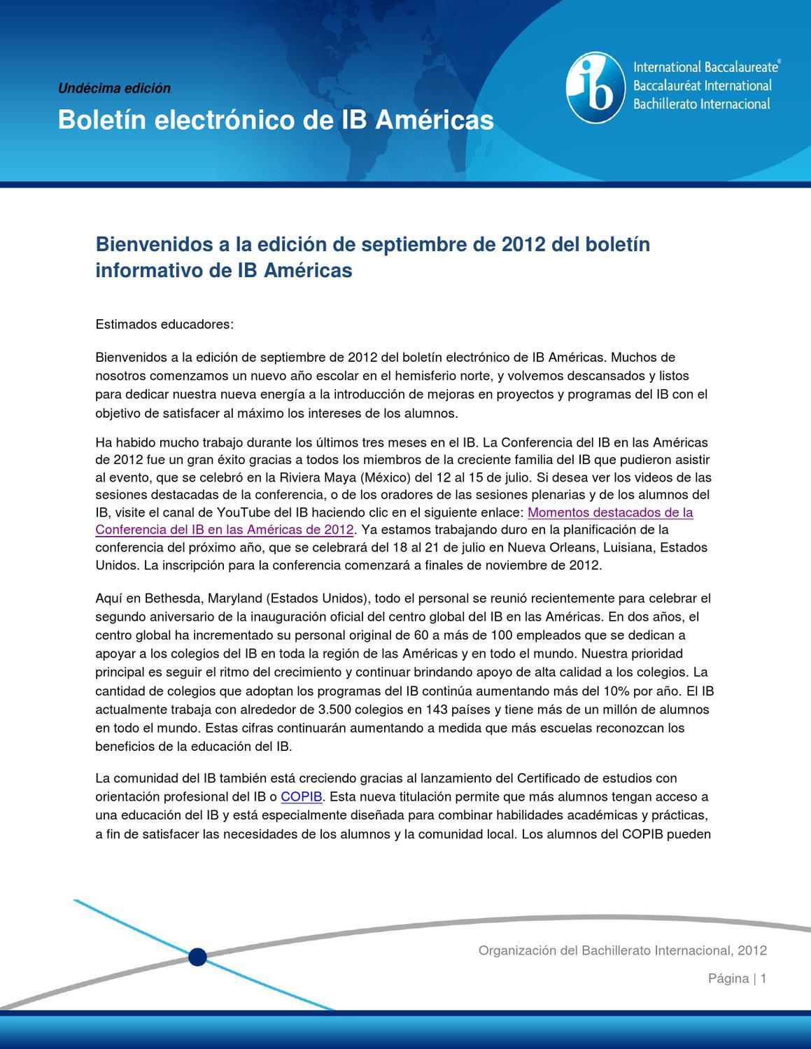 Boletín electrónico de IB Américas septiembre 2012 by International ...