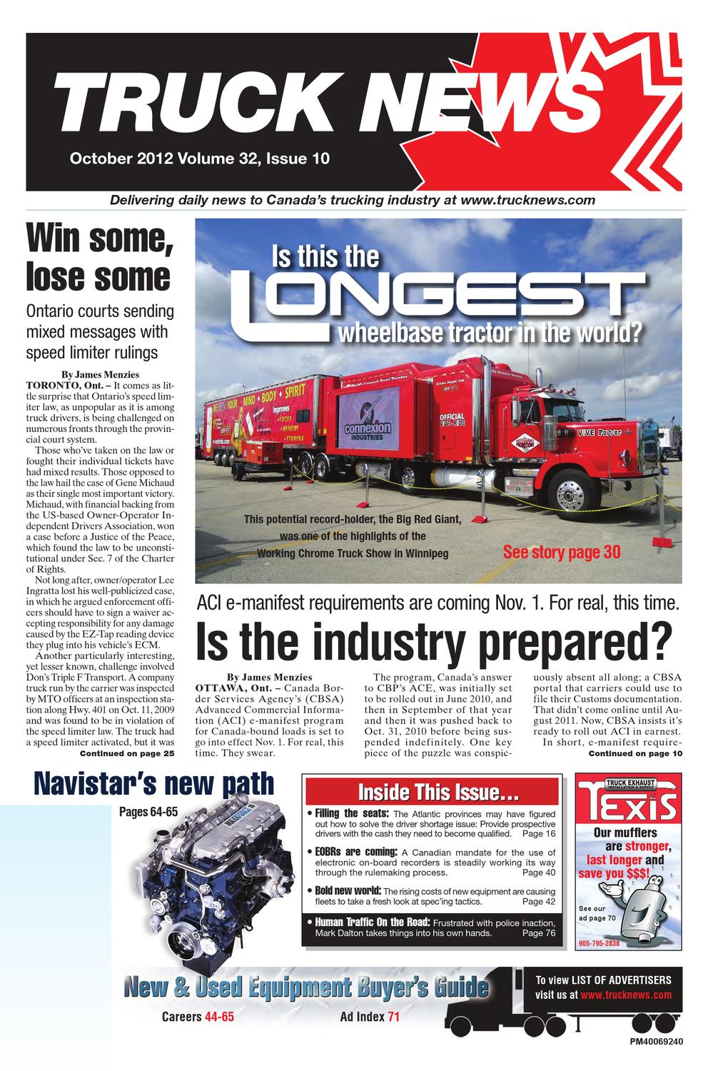 Truck News October 2012 By Annex Newcom Lp Issuu Peterbuilt Paccar Ecm Motor Wiring Diagram For With