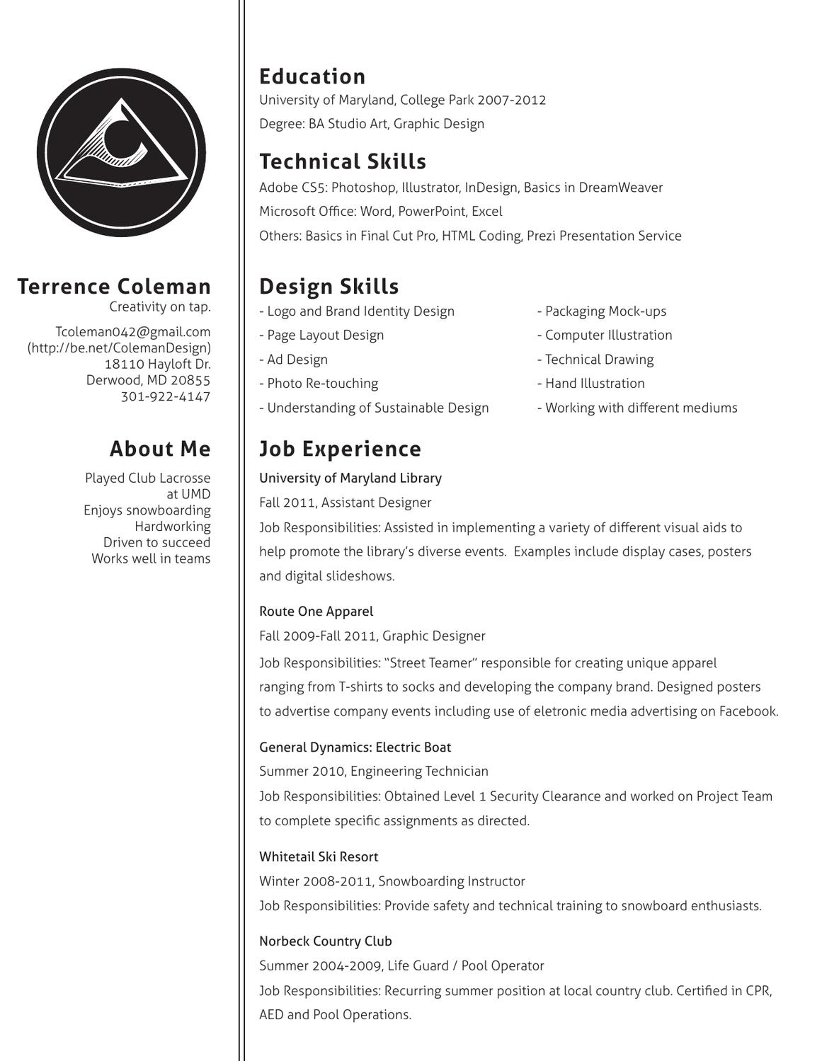 New B&W Resume by Terrence Coleman - issuu