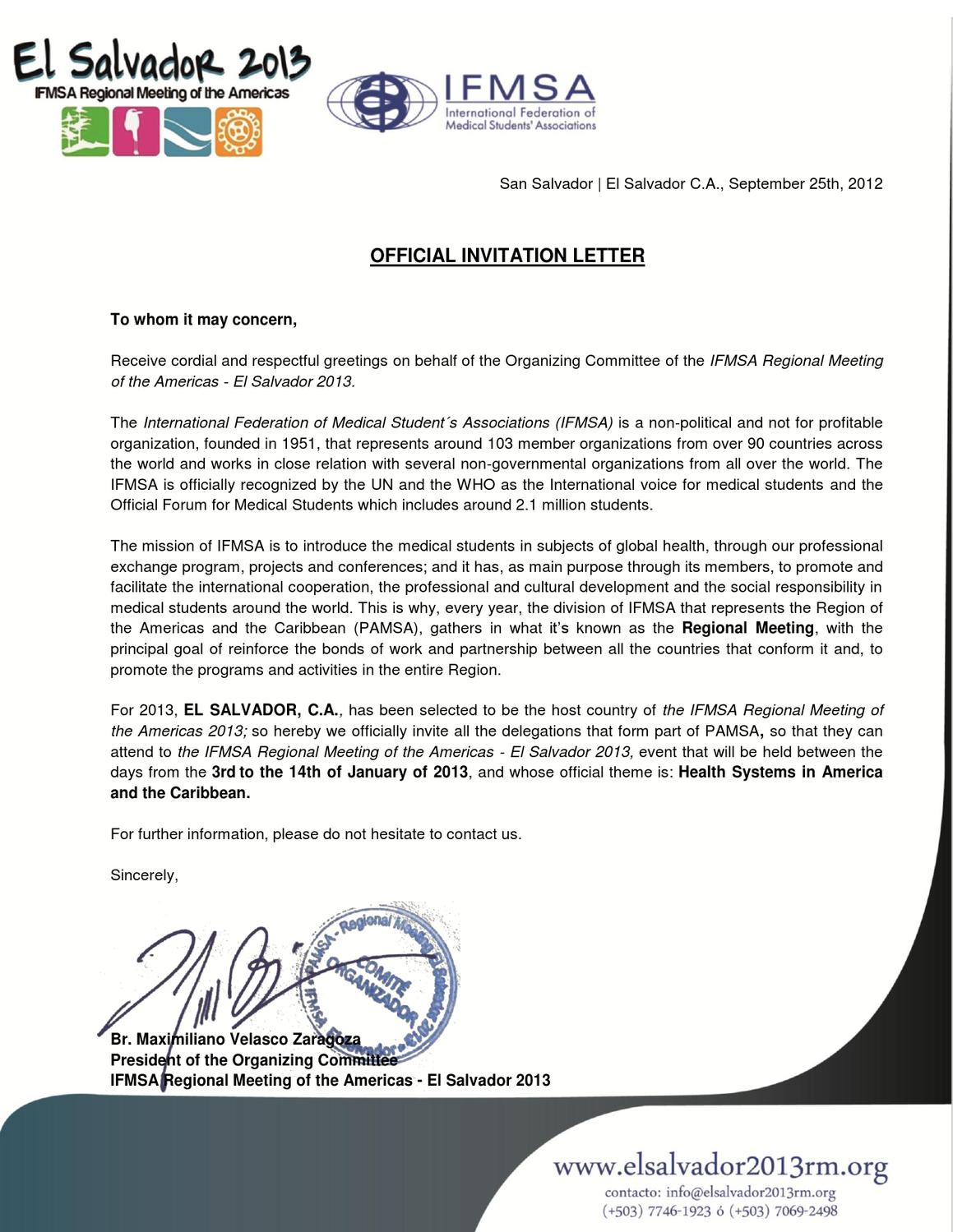 Official Invitation Letter by PAMSA RM El Salvador 2013 - issuu