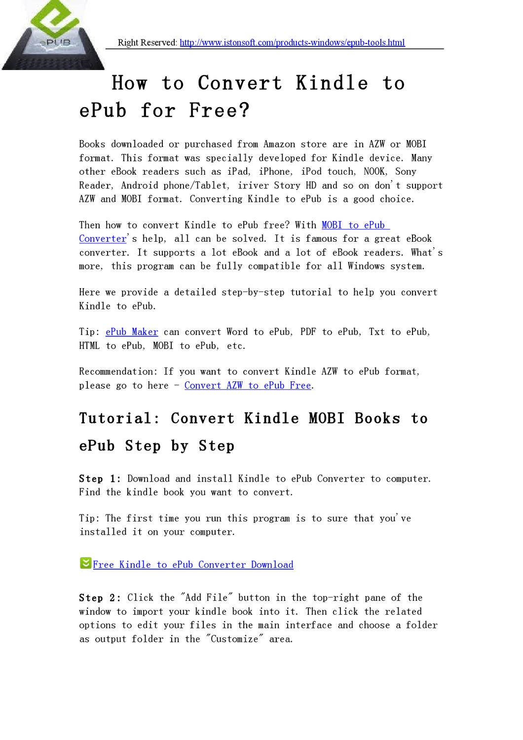 How to Convert Kindle to ePub Free - Converting Kindle Books