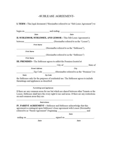SUBLEASE AGREEMENTI TERM This Legal Document Hereinafter Referred To As Sub Lease Agreement Begin On
