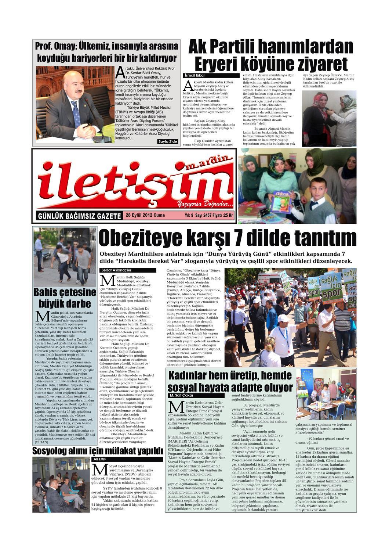28 Eylul 2012 Cuma Gazete Sayfalari By Mardin Iletisim Gazetesi