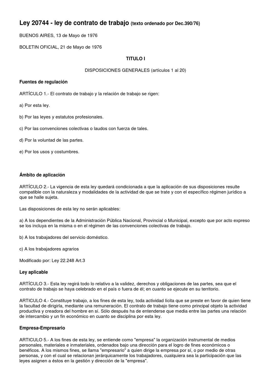 Ley de Contrato de Trabajo 20744 by Seba yosoysi - issuu