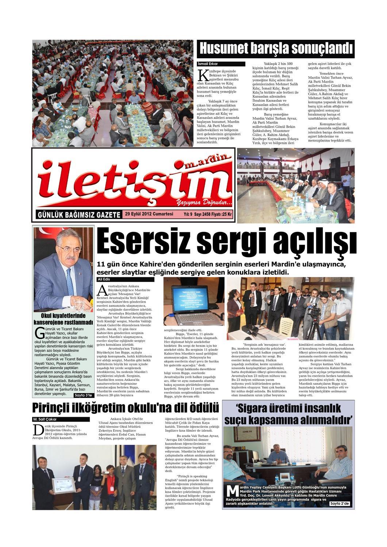 29 Eylul 2012 Cumartesi Gazete Sayfalari By Mardin Iletisim