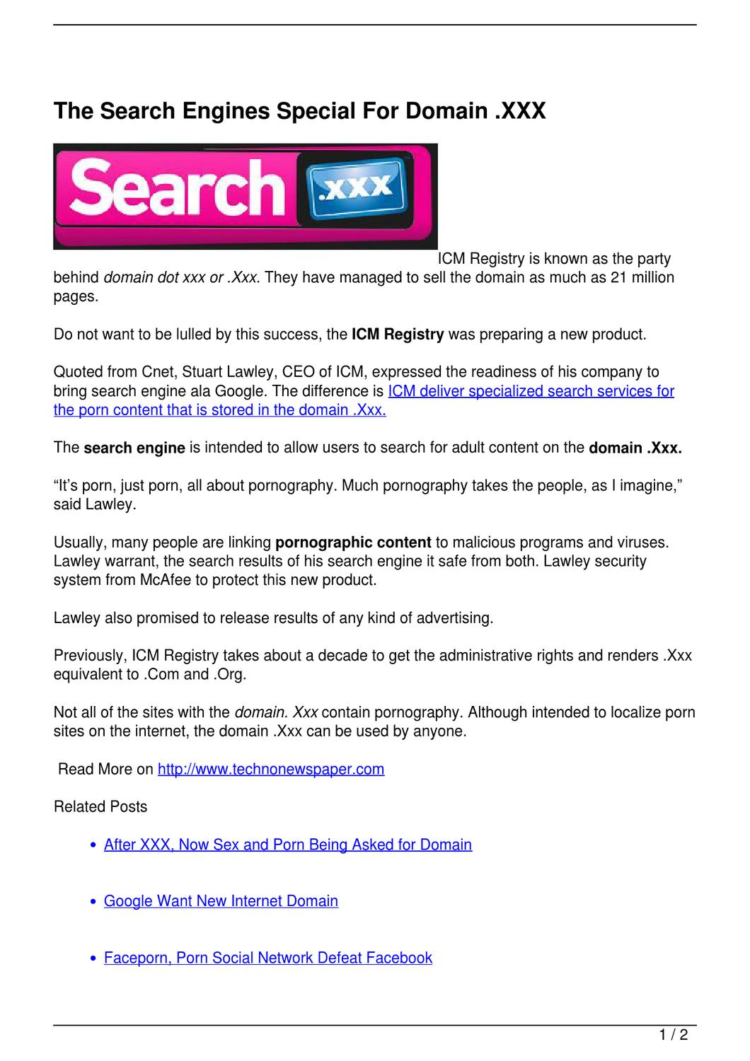The Search Engines Special For Domain .XXX
