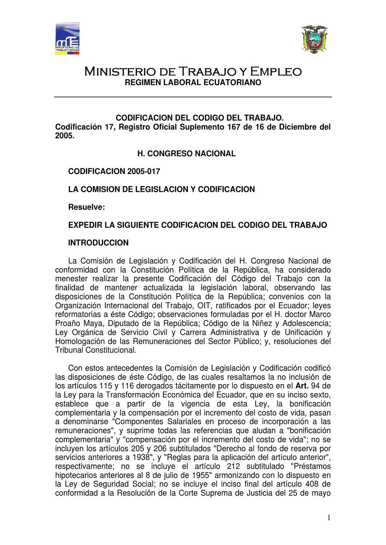 Código de Trabajo by Nelson Marcelo Aldaz Herrera - issuu