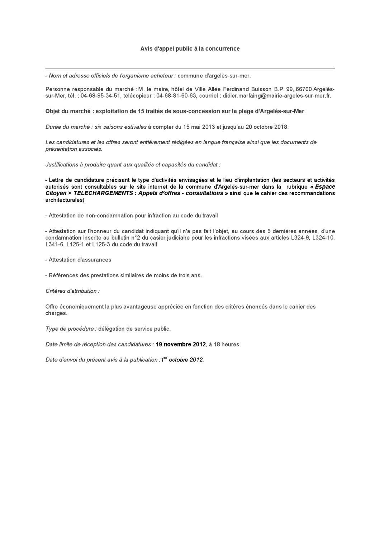 Avis D Appel A La Concurrence By Argeles Sur Mer Issuu