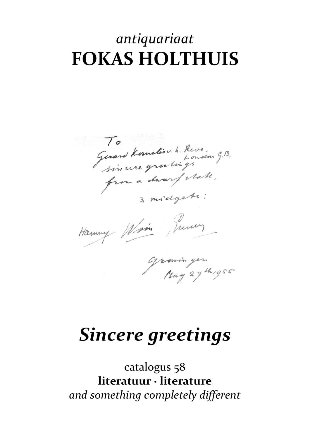 Sincere Greetings Catalogus 58 By Fokas Holthuis Issuu
