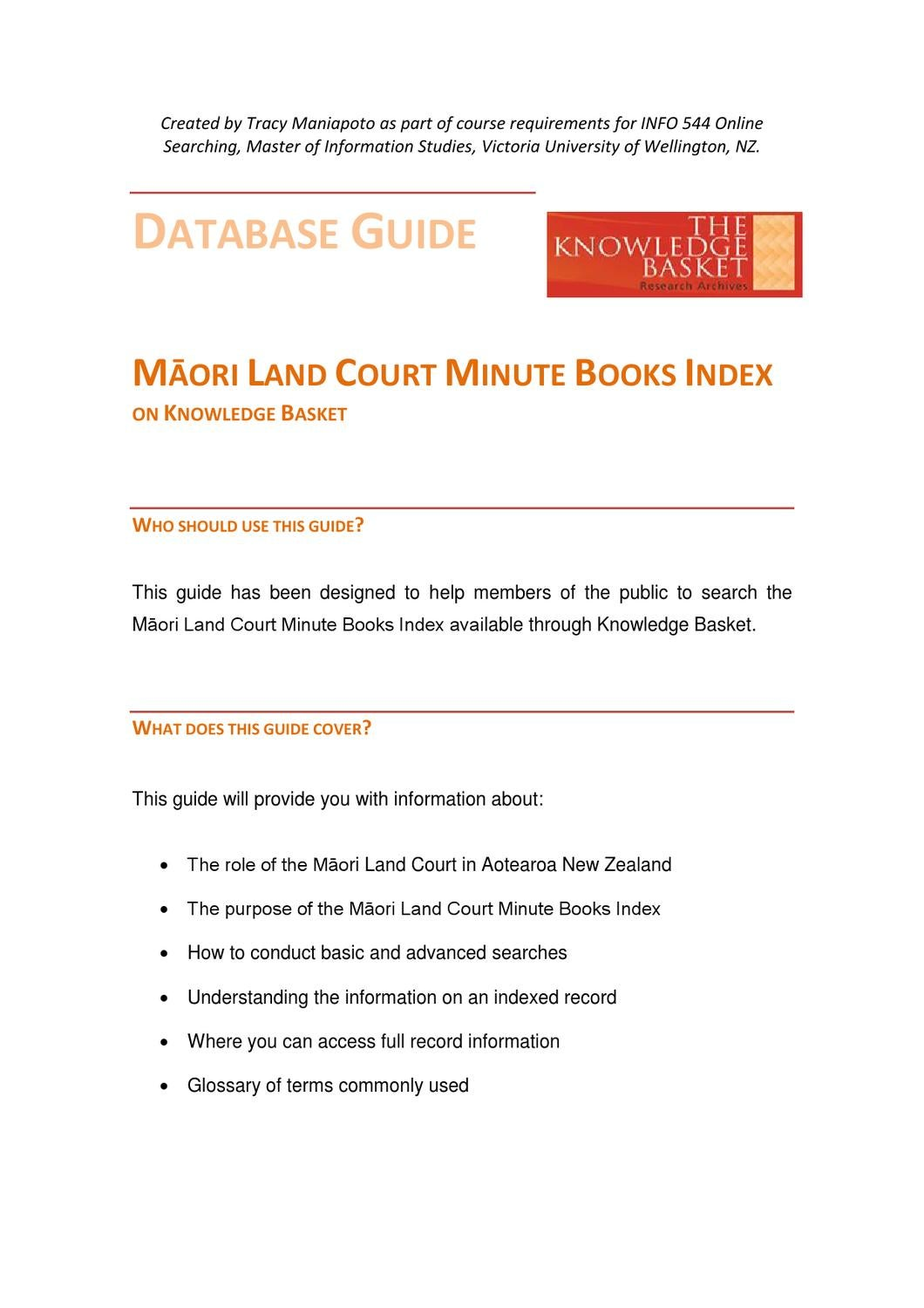 Database Guide for Māori Land Court Minute Book Index