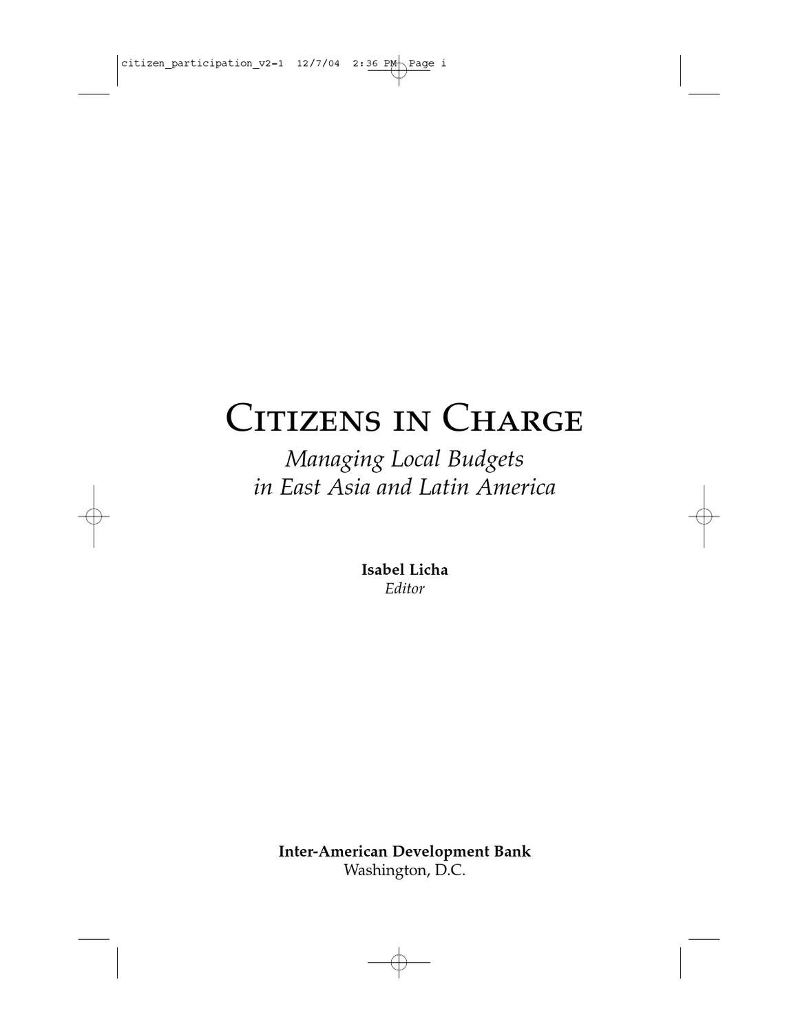 Citizens in Charge: Managing Local Budgets in East Asia and