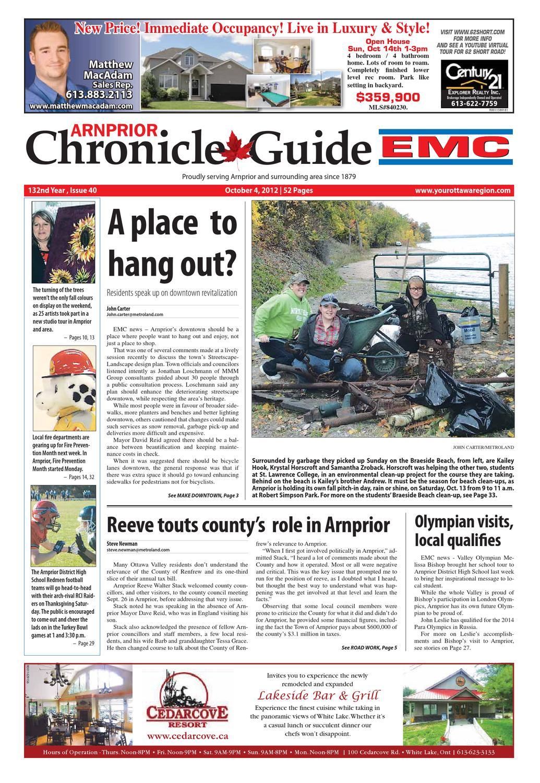 Arnprior Chronicle Guide Emc By Metroland East Appeton 60 Vanila Tin 900 Issuu