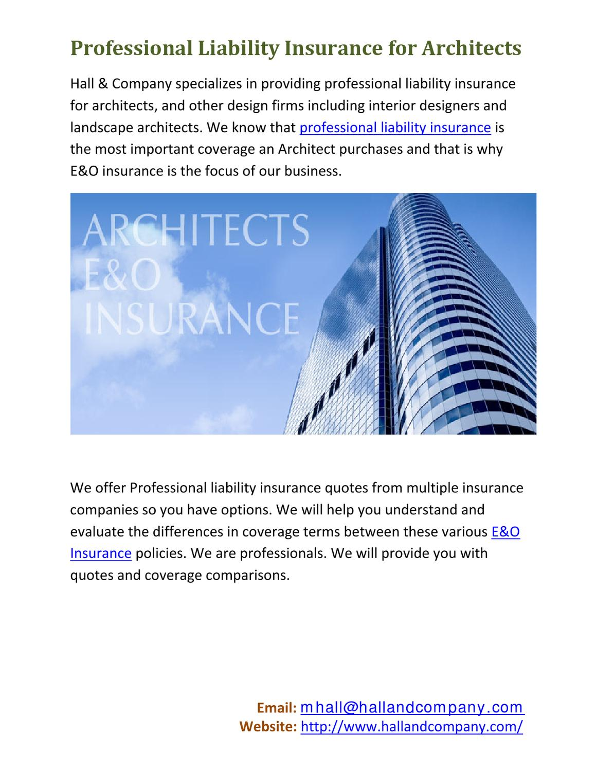 Professional Liability Insurance for Architects by Hall ...