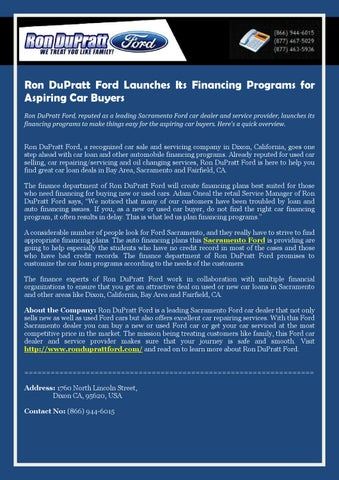 Ron DuPratt Ford Launches Its Financing Programs for