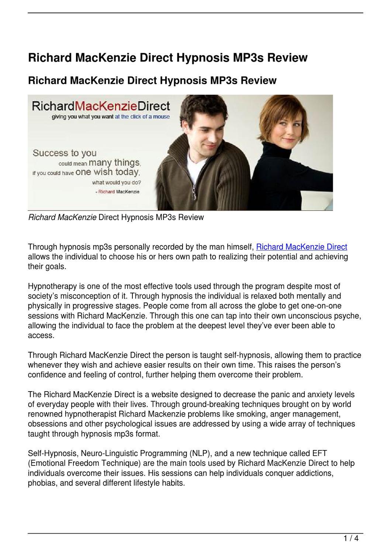 Richard MacKenzie Direct Hypnosis MP3s Review by Gary Martinez - issuu