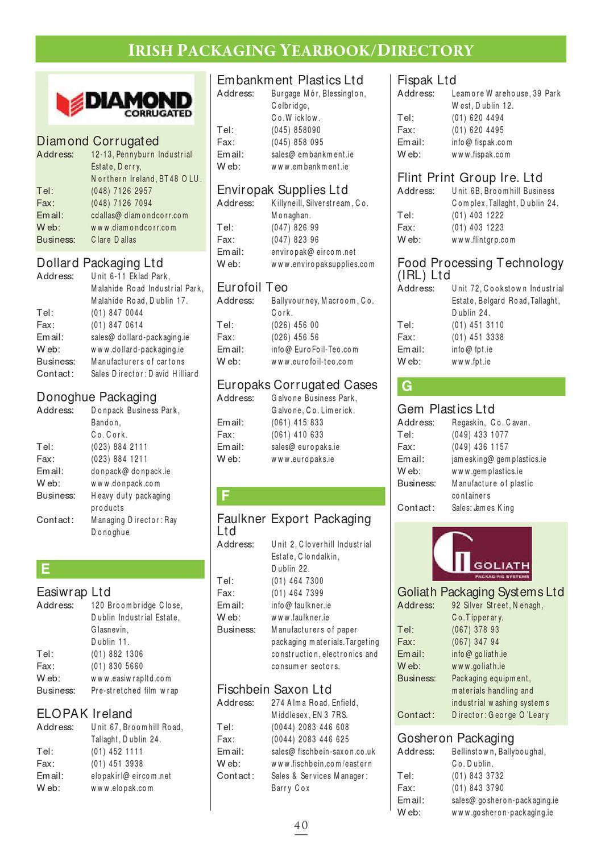 Irish Packaging Directory 2012 by Retail News - issuu