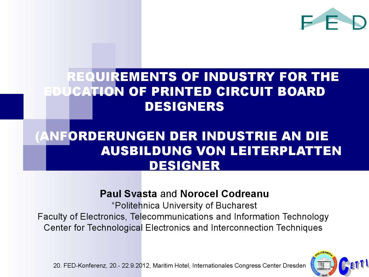 Printed Circuit Board Designer Requirements Of Industry For The Education Designers By Upb Cetti Issuu