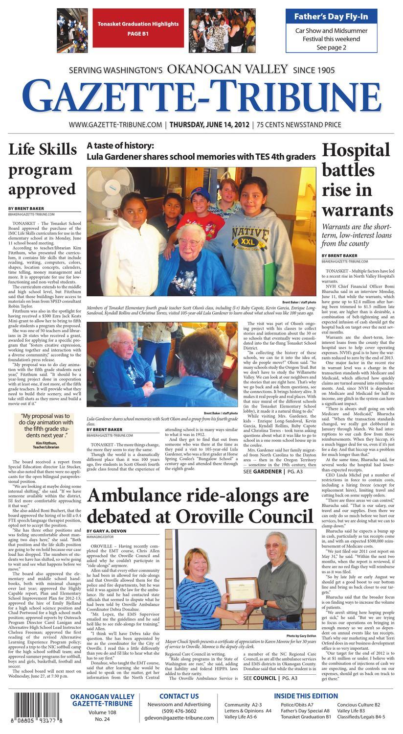 Okanogan Valley Gazette Tribune June 14 2012 By Sound Publishing