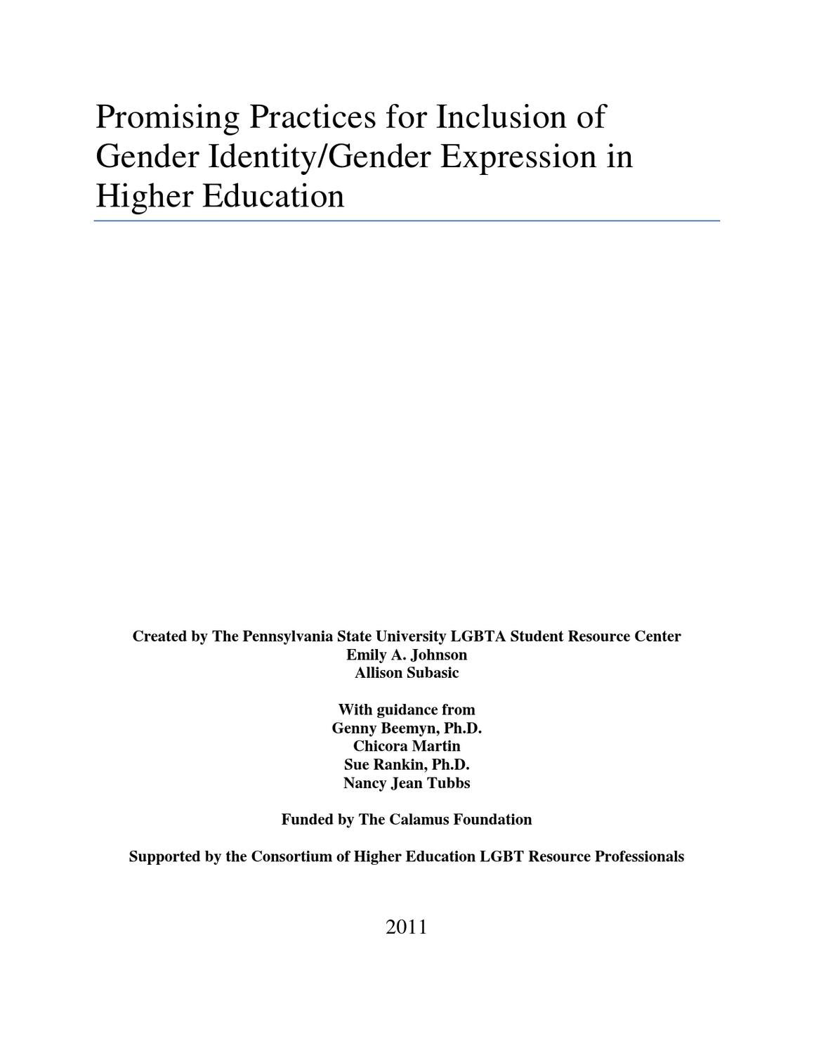 Trans Promising Practices by Campus Pride - issuu