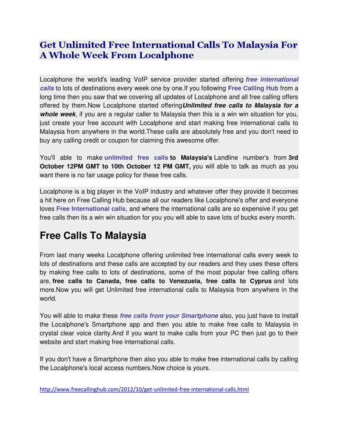 Free Calls To Malaysia by Gungun Mehta - issuu