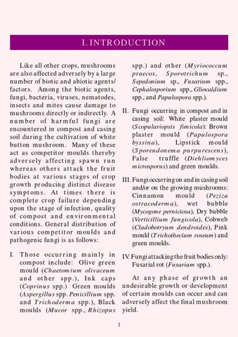 Diseases And Competitor Moulds Of Mushrooms And Their