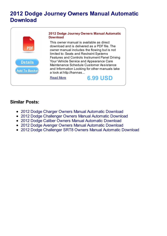 Dodge avenger repair manual 1995-2012.