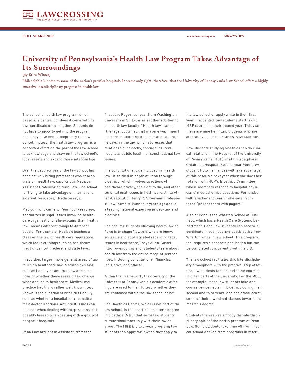 University of Pennsylvania's Health Law Program Takes Advantage of