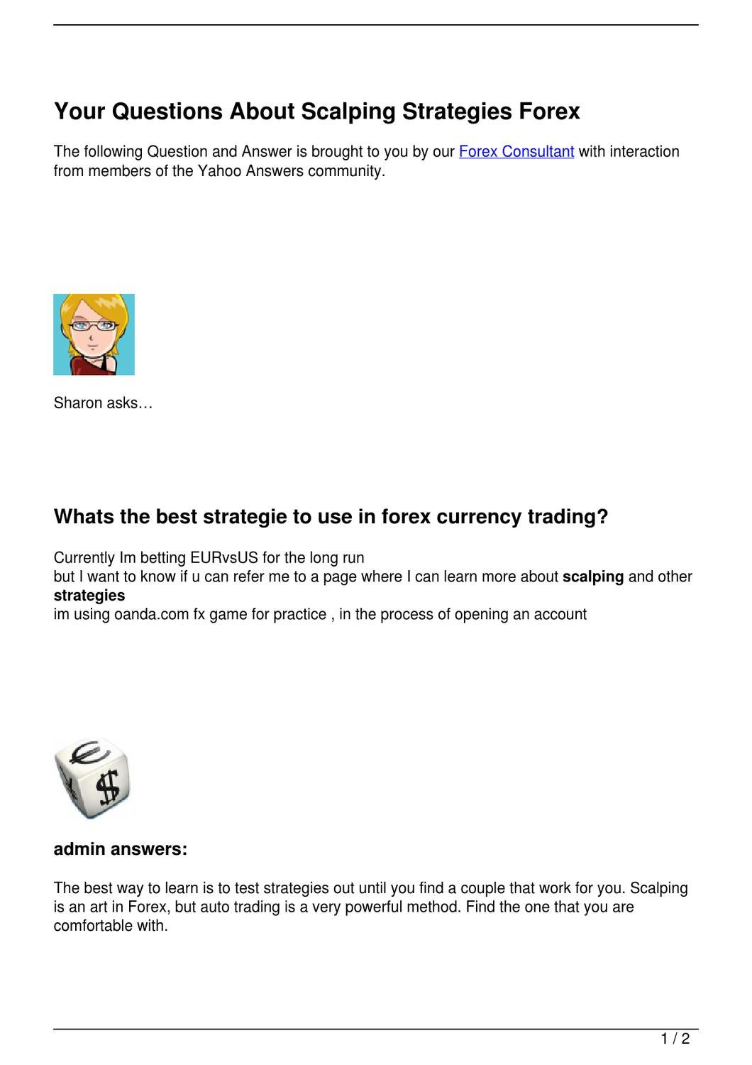 Your Questions About Scalping Strategies Forex by Brad Smith